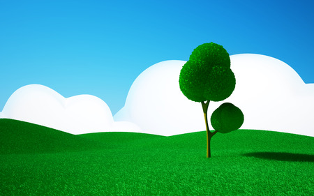 cartoon land: 3d cartoon landscape, a tree on a green field, hills and blue sky with clouds