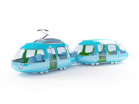 tramway: Blue 3d tram in cartoon childish style