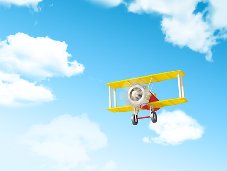 Toy airplane fly in the sky. Cartoon style photo