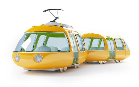 Orange 3d tram in cartoon childish style photo