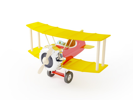 Toy plane on a white background  Cartoon style photo