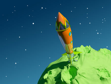 Vintage orange rocket is on the green asteroid, backdrop blue space  photo