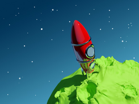 Vintage red rocket is on the green asteroid, backdrop blue space  photo