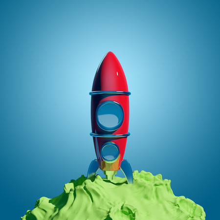 planetoid: Vintage red rocket is on the green asteroid, backdrop blue space  Stock Photo