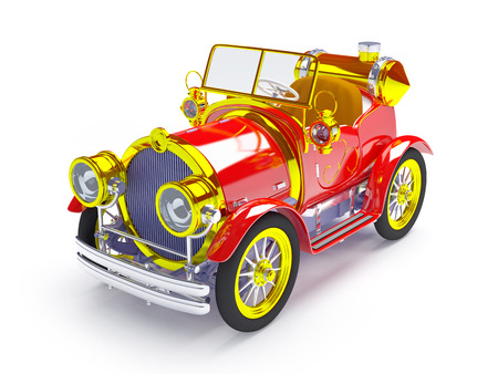 1910 red retro car on a white background in steampunk style photo