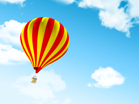 Air balloon in the blue sky with clouds photo