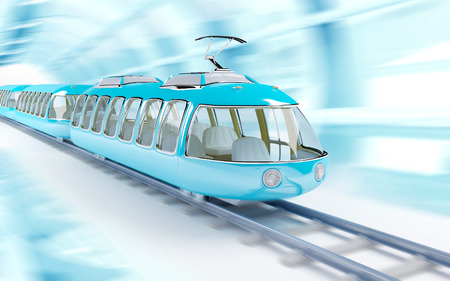 Blue futuristic speed train in cartoon childish style, train rides on a tunnel