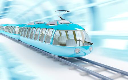 tren caricatura: Tren de alta velocidad futurista azul en estilo de dibujos animados infantiles, viajes en tren en un túnel