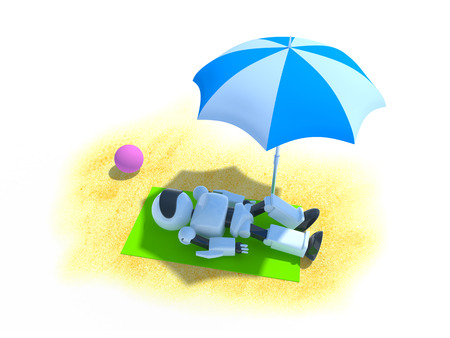 3d white robot lying on the beach under an parasol Stock Photo