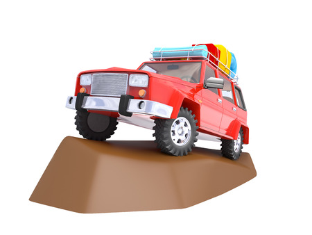 3d red SUV adventure with roof rack on rock photo