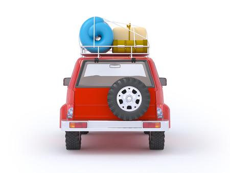 3d rode SUV avontuur met imperiaal. Terug te bekijken
