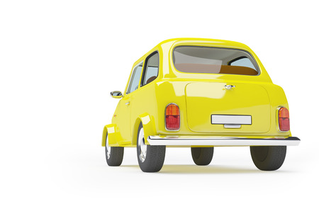 Back of 3d cute retro taxi fifties isolated on white background photo