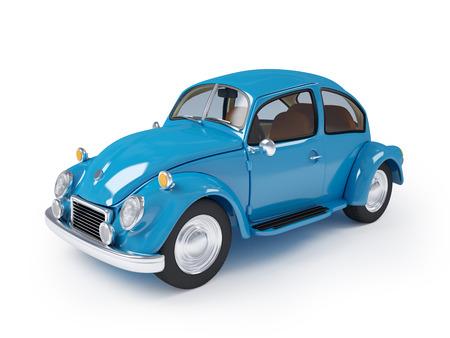 Blauwe retro auto van veertig op een witte achtergrond