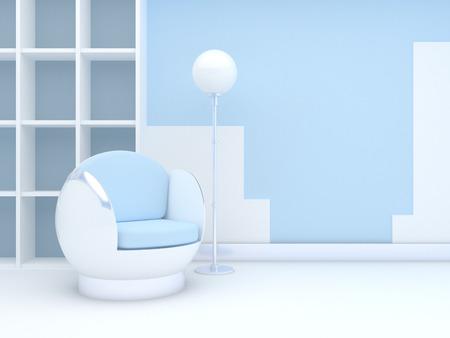 Modern interieur met een ronde stoel en een staande lamp, staande op de blauwe muur Stockfoto
