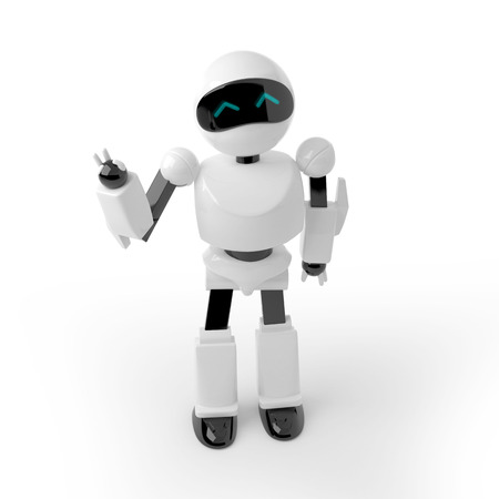cute robot: 3d white plastic robot, waving, saying hello. Japanese cute style. Stock Photo
