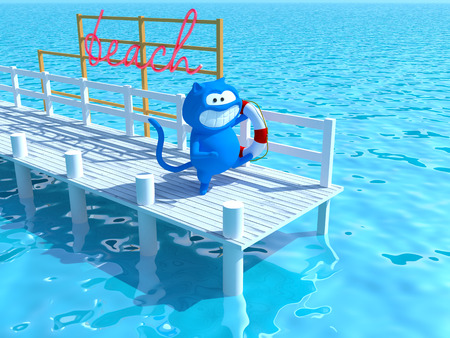 3d blue cat happily running along the pier with a lifebuoy in the paw, and smiling from ear to ear