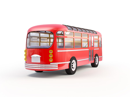 Back of retro red bus on a white background. photo