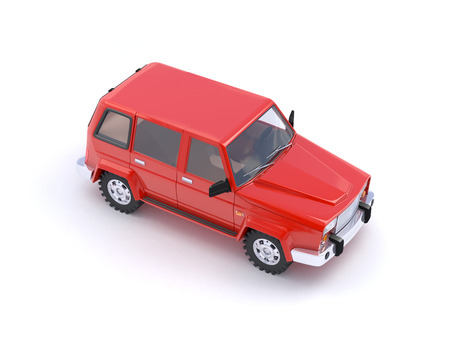 4wd: 3d red SUV on a white background Stock Photo