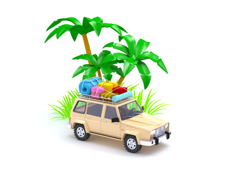4wd: 3d red SUV adventure on a beach Stock Photo
