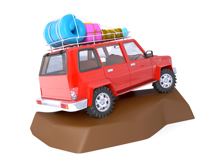 4wd: 3d red SUV adventure with roof rack on rock