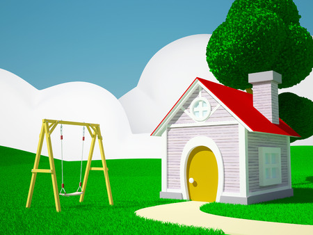 A house with childrens swing on a green field, hills and blue sky photo