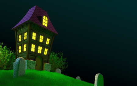 horror house: Haunted house on a hilly cemetery. Halloween 3D image Stock Photo