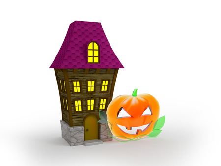 halloween house and glass pumpkin on white background photo