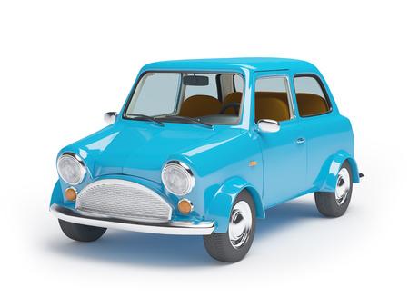 Blauwe retro mini-auto op een witte achtergrond Stockfoto