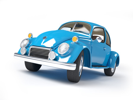 forties: Blue retro car from forties on a white background
