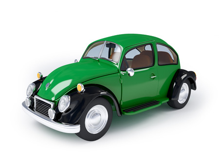Green retro car from forties on a white background Stock Photo