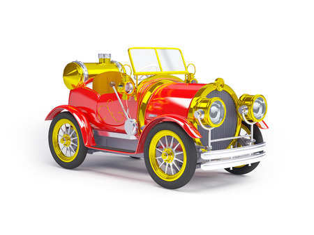 antique car: 1910 red retro car on a white background in steampunk style