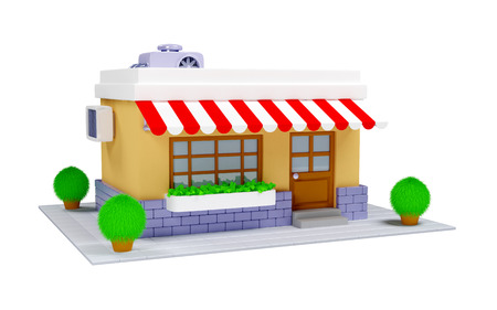 3d cartoon shop building in old style on a white background photo