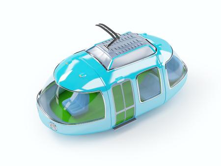 Blue 3d tram in cartoon childish style photo
