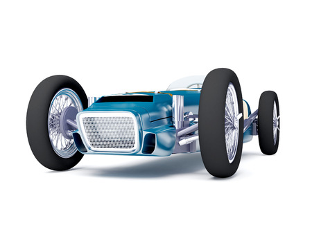 formula one car: Vintage racing car of fifties, blue color on a white background Stock Photo