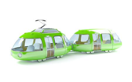 Green 3d tram in cartoon childish style photo