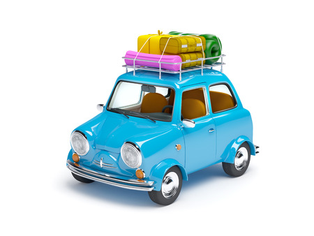 cartoon suitcase: small and cute blue retro trip car on white background Stock Photo