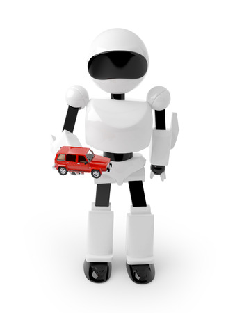 Robot holding a red car on the hand photo