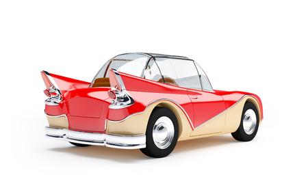prototipo: Coche futurista retro rojo de los años sesenta en estilo de dibujos animados, vista posterior