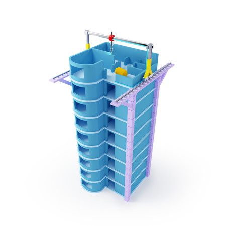 three dimensions: 3d printing of skyscraper  Schematic 3d illustration