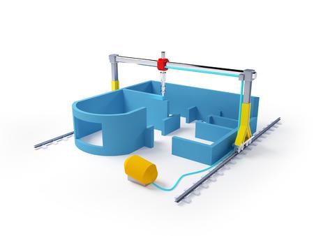 3D printen van huis Schematische 3D-afbeelding Stockfoto