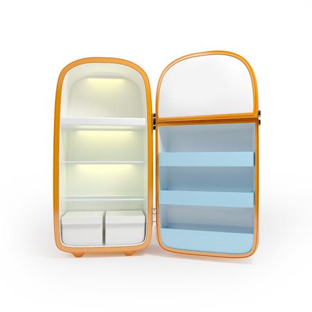 Retro oranje koelkast geïsoleerd op witte achtergrond Stockfoto