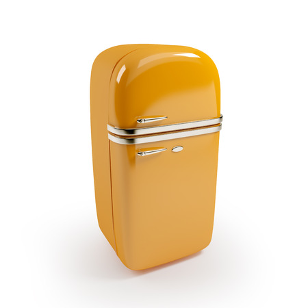 cold storage: Retro orange refrigerator isolated on white background Stock Photo