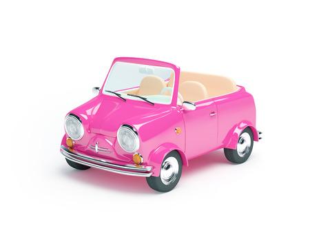 Roze kleine auto cabriolet op witte achtergrond Stockfoto