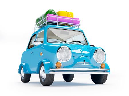 klein en schattig blauw retro trip auto op witte achtergrond