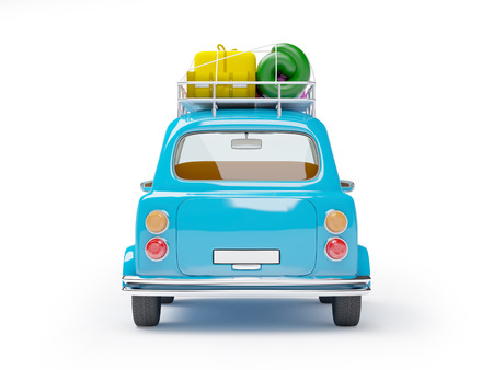 trip travel: small and cute blue retro trip car, back view with luggage on white background Stock Photo
