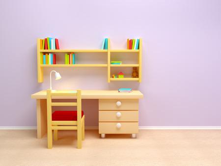 niños estudiando: Escuela de escritorio del sitio de niño con la lámpara y reservar estantes