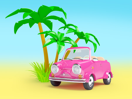 exotic car: pink small car with palm trees on a white background Stock Photo