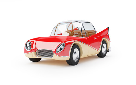 aerodynamic: Red retro futuristic car from sixties in cartoon style