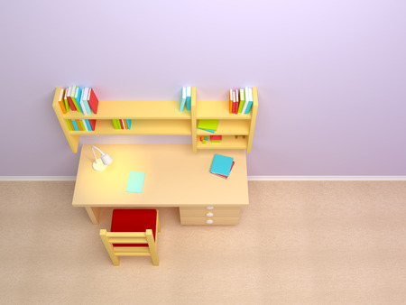 writing chair: School child room  Desk with lamp and book shelves