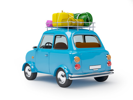small and cute blue retro trip car, back view with luggage on white background Stockfoto
